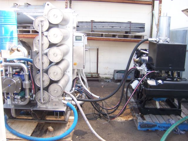 Independent Hydraulic Power pack coupled to a reverse osmosis unit in static testing.